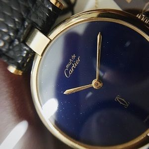 Must De Cartier Vermeil Vendome Lapis Wristwatch